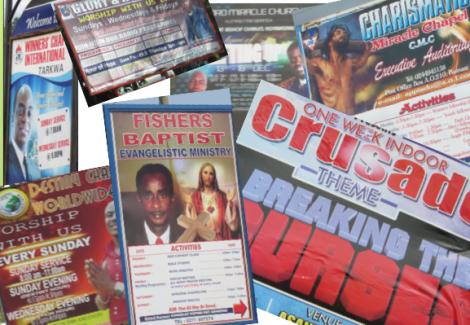 Werbeplakate evangelikaler Kirchen in Ghana (2012)
