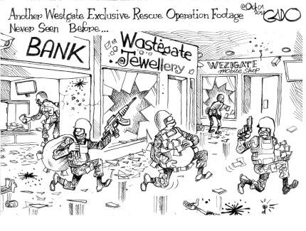 Ein Bild sagt mehr als tausend Worte: der tansanische Cartoonist Gado trift den Nagel wieder einmal auf den Kopf. (http://gadocartoons.com/rescue-operation-footage-never-seen-westgate/)