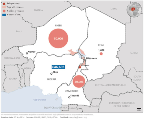 Die meisten, die vor Boko Haram fliehen, bleiben im eigenen Land: Zahlen des UNHCR vom September